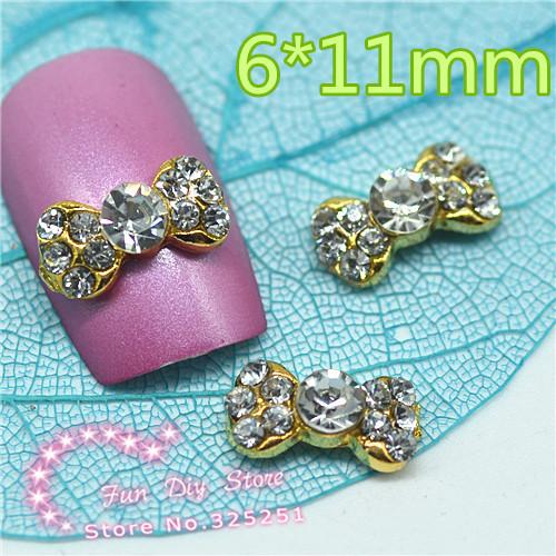 3d-legierung farbe strass goldenen bogen nail art dekoration 6*11mm 50pcs/lot