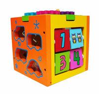 2014 New Intelligence box Wood knob Puzzle Multifunctional Wooden toys Educational Cube shape Sorter Enlighten toy children gift