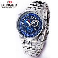 Brand original design chronograph watches full steel strip blue dial fashion man sapphire wristwatch 6 needle 3 eye stop watch