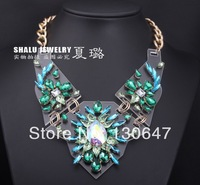 2014 New Design Indian feathers Vintage Punk Crystal Necklace &Pendant Statement Chunky Metal Fashion Jewelry For Women