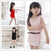 Girls Casual Dress New 2014 Solid Chiffon Girl Princess Dresses With  Sashess Summer Girls Tank Dress Children's Clothing