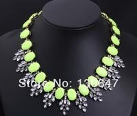 2014 women new Fashion big shourouk hot-selling flower gem crystal necklace statement necklaces