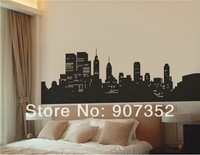 Medium Cartoon New York Wall Decal Sticker (Black),free shipping