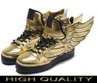 Free shipping Man & Women Jeremy Scott Wings 2.0 Shoes glod black jeremy scott wings sneakers glod black js wings shoes AD231