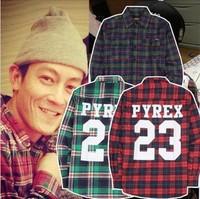 Pyrex vision champion23 vintage long-sleeve plaid shirt
