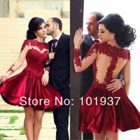 2014 New Arrival Red Loong Sleeve Sheer Back Knee Length High Collar Short Cocktail Dress Party Evening Elegant