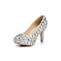 New Fashion 2013 Women's Silver Rhinestone Prom Pumps High Heel Crystal Brand Glitter Sparkly Platforms Silver Red Bottom