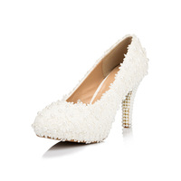 2014 new Lace wedding shoes pearl bridal princess white flower single ultra high heels platform shoes womes pumps shoes