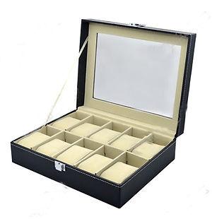 PU Leather Watch Display Case Jewelry Collection Organizer Box 10 Grid(China (Mainland))