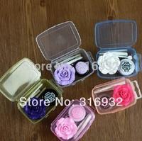 Rose camillia plastic flower contact lenses color case / lens Companion container box  2pcs/lot FREE SHIPPING