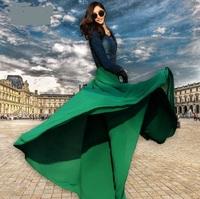 2014 New spring SUMMER WOMEN high waist chiffon 8 Meters hem skirt loose size floor-length RED BLACK GREEN WHITE XXL XL S M L