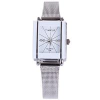 Fashion white dial mesh band couple lovers watches men women luxury brand quartz alloy analog rectangle casual wristwatch