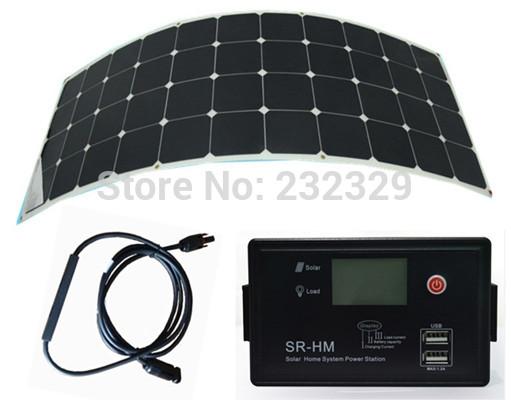 Promotion sunpower flexible solar panel 130W 12V 24V Aoto solar controller and LED Driver