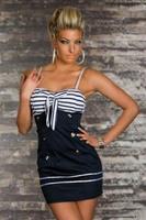 promotion new fashion sexy women's striped spaghetti strap mini dress sailor marine 2707