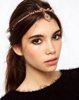 New 2014 wholesale bohemian vintage rose gold chain imitation crystal rhinestone hairband wedding hair accessories for women