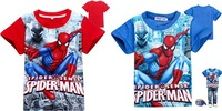 2014 new cartoon spiderman children t shirts kids t-shirts cool summer short sleeve toddler baby cartoon clothes tees 2colors