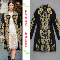 2013 wool coat fashion gold thread embroidery royal woolen long design female outerwear