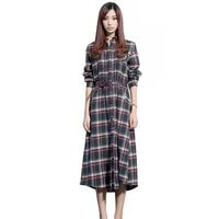 2014 women's basic medium-long flannel plaid vintage multicolour long-sleeve plaid one-piece dress