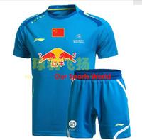 New!Free shipping 2014 LI-Ning Sports Badminton Men's Shirt Tennis Clothes Shirt+shorts