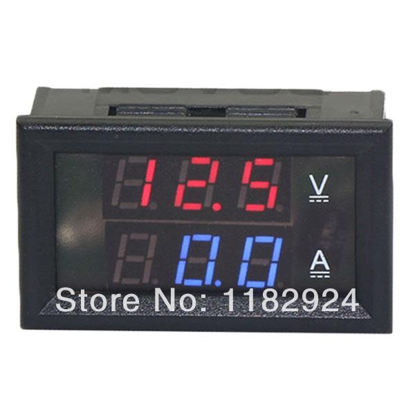 Retail! Car voltage current meter 0.28 Digital Ammeter Voltmeter DC 0-100V/10A 4 wire dual LED Display color Red+Blue pZ3tK(China (Mainland))