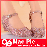 hole shoes flat sandals bird's-nest plastic crystal jelly women sandals shoes