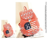 2014 four colors for choice canvas shoulder bag,flag backpack with dots free shipping