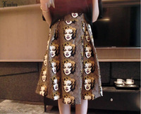 Vintage Long Elegant A-line Skirts Marilyn Monroe Printed Noble Skirt Ladies Skirts for Spring SQ039
