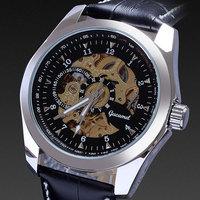 Gucamel brand men's genuine leather mechanical hand wind luxury watch winder dial analog hollow skeleton business wristwatch