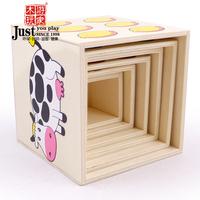 Child blocks wooden big digital packing carton baby educational toys 1 - 2 - 3