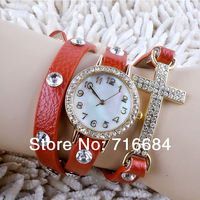 2014 new vintage women's Multi-layer rhinestone cross wristwatches 8 colors