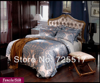 Free DHL Shipping Lord Style Cheap Price  4PC Tencle Material Jacquard Bedding set covers Tribute Silk Home Texitile