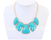 Free shipping Fashion accessories bohemia big gem geometry design short necklace multicolour chain