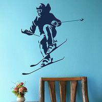 Skiing Sport Wall Art Decor Sport  Wall Sticker Home Decal Mural Poster