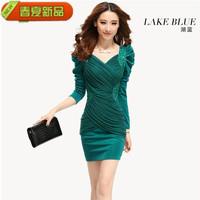 Free shipping hot sale one-piece dress slim 2014 spring long-sleeve V-neck slim hip sexy women's fashion elegant one-piece dress