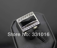 Stock! Fashion Jewelry Titanium Stainless Steel Black Agate Stone Ring Size 7/8/9/10+ Gift Box