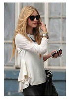 2014 Spring   Chiffon Blouses & Shirts OL Womens Ladys Peplum Tops Frill Puff Sleeve Fitted Shirt  free shipping