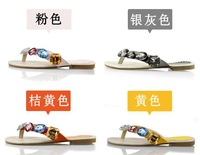 Free shipping Candy color stunning big rhinestone flip flops rhinestone women's sandals female slippers t601