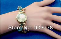 2pcs/lot Freeshipping  fashion design women's multi-pedant of lock,key,crystal bracelet watch,with Korea imported rope band