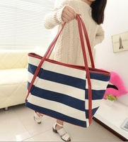 navy style blue with white and black with white totes canvas sea feeling striped women's handbags single shoulder bags