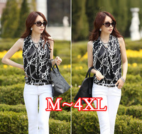 2014 New summer women's XXXX fat MM sleeveless blouses shirts, Plus size  4XL stripes ladies blouses L XL XXL/XXXL XXXXL