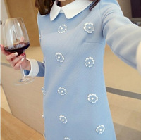 2014 spring  female slim medium-long  basic  peter pan collar autumn and winter one-piece dress