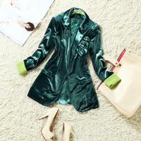2014 spring corsage velvet roll up hem lace long-sleeve slim short design small suit jacket female xz244
