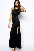 vestidos de festa vestido longo Black Lace Splicing Maxi Evening Dress   imported clothing High street 2014 hot sale combinaison