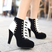 Fashion Spring & Winter velvet color block decoration fashion women's boots Female hin high-heel platform shoes