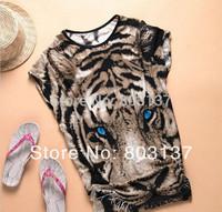 Fashion summer New 2014 Women Clothing Set Animal Print t shirt Leopard Casual Shirts Tops Blouse Tee Hot Sale Drop Ship T-214
