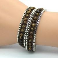 Free Shipping, Tiger eye Twice Leather Braided Rope Bracelet DIY Compiled Bracelet Critical Hit