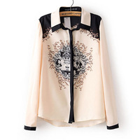 Hot sales 2014 new fashion spring women's shirt baroque print long-sleeve chiffon blouses free shipping