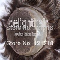 "1 pcs swiss lace toupee Q6 #6 ,9x7 inch base ,6"" + 1 pcs full hand tied swiss lace toupee #4 , 20inch ,free shipping by DHL"