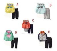 BA030,5sets/lot Carter's baby boys girls fashion clothing sets infant full sleeve casual jacket+pant 2pcs set kid suit Wholesale