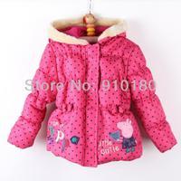 5pcs/lot Peppa Pig Cartoon Pink winter Hooded warm Coat For Girls cotton padded jacket